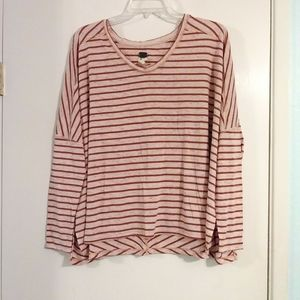 Free People Oversized Red Pink Striped Long Sleeve